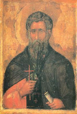 Свети преподобни Иоан Рилски. Икона от България. XIV в.