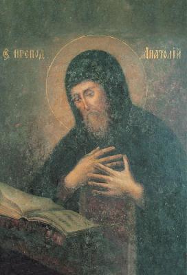 Преподобни Анатолий Печерски (XII) погребан в близките пещери. Икона от Киев. XIX в. Киево-Печерская Лавра. Иконата се намира на раклата с мощите на светеца.