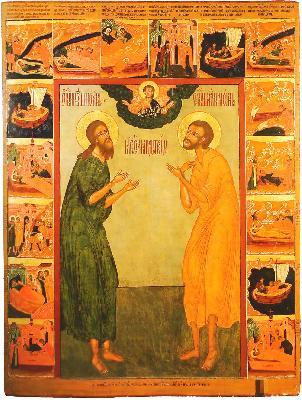 Светиите Иоан и Лонгин Яренгски. Икона с житие от 1695 г.