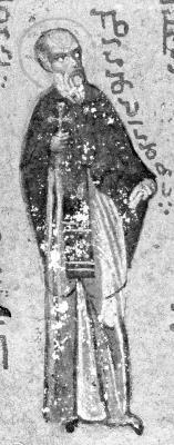 Св. преподобни Лампад. Миниатюра от Атон, Иверски манастир. Края на XV в.