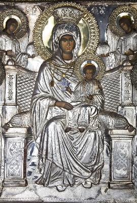 """Фрагмент от чудотворната икона на Пресвета Богородица """"Економисса"""" (""""Домостроителка"""")"""