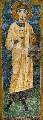 Св. Мъченик Исавър. Фреска от Водочки манастир. Македония. 1 ва половина на XI в.