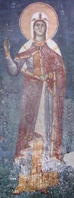 Света мъченица Кириакия (Неделя). Фреска от църквата ''Благовещение''. Грачаница. Косово. Сърбия. Около 1318 г.