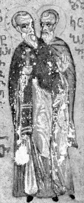 Св. преподобномъченици Патермутий и Коприй. Миниатюра от Атон - Иверски манастир. Края на XV в.