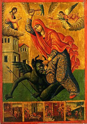 Света Марина пребиваща беса. Икона от Атина - Византийски музей. 1857 г.