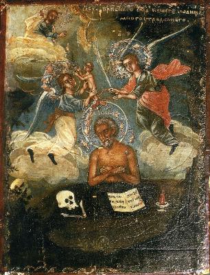 Св. преподобни Иоан Многострадални. Икона от Русия. XVIII в.