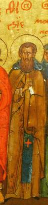 Св. преподобни Дий Константинополски. Фрагмент от минейна икона за юли. Русия. Началото на XVII в.