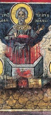 Мъчение на св. Калиник. Фреска от манастира Дионисиат. Атон. 1547 г.