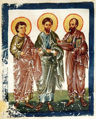 Свв. апостоли Тимотей, Силуан и Павел. Миниатюра от Византия. Края на XIII в.