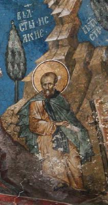 Св. преподобни Исакий Далматски. Фреска от църквата ''Христос Пантократор''. Дечани, Косово, Сърбия. Около 1350 г.