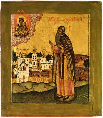 Св. преподобни Антоний Римлянин. Руска икона от 1680 г.