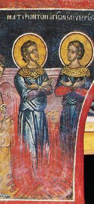 Мъчение на свв. Елевферий и Леонид. Фреска от Атон, манастир Дионисиат. 1547 г.