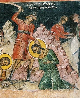 Мъчение на св. Андрей Стратилат. Фреска от Атон - манастир Дионисиат. 1547 г.