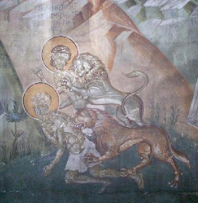 Мъченичество на св. Агапий. Фреска от църквата ''Благовещение''. Грачаница, Косово, Сербия. Около 1318 г.