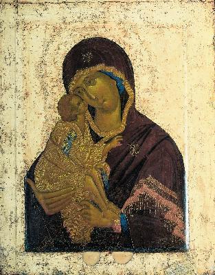 Чудотворен първообраз на Донската икона на Божията Майка от иконостаса на големия събор на Донския манастир. Около 1392 г.