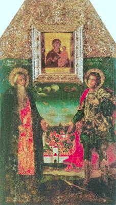 Св. преподобни Аврамий и мъченик Аврамий. Икона от Русия. 1722 г.