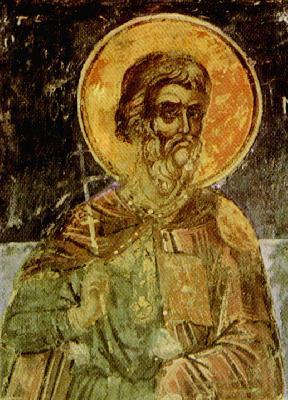 Св. мъченик Агатоник Никомидийски. Фреска от църквата ''Св. Николай'' в манастира Ставроникита на Атон. 1546 год.