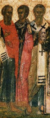 Светиите Агатоник, Зотик и Атанасий Киликийски. Годишна минейна икона от Русия. 1-ва половина на XVI в.