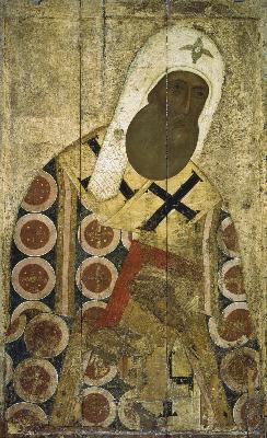 Свети Петър Митрополит Киевски и на цяла Русия. Руска икона от 1-вата половина на XV в.