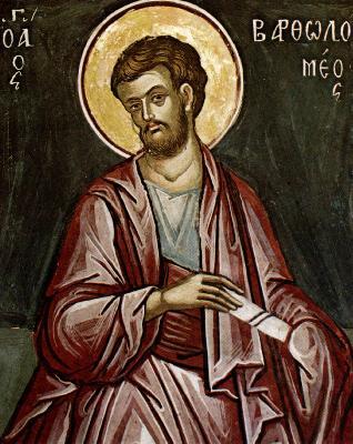 Св. апостол Вартоломей. Фреска от църквата ''свети Николай'' в манастира Ставроникита на Атон. 1546 год.