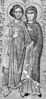Свети мъченици Адриан и Наталия. Миниатюра от Иверския манастир на Атон. Края на XV в.