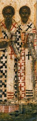 Свв. Иоан Постник и Павел Нови. Фрагмент от минейна икона от Русия. 1 ва половина на XVI в.