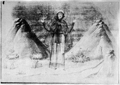 Св. мъченица Василиса Никомидийска. Миниатюра от минологията на Василий II. Константинопол. 985 г.