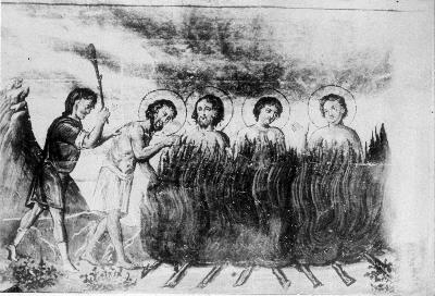 Мъченичество на свв. Теодор, Миан, Иулиан, Кион Кандавлски, Никомидийски. Миниатюра от Минологията на Василий II. Константинопол. 985 г.