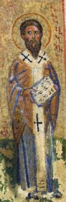 Свещеномъченик Вавила. Миниатюра от Атон - Иверски манастир. Края на XV в.