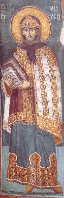 Свети пророк Моисей. Фреска от църквата ''Успение Богородично'' в манастира Протат на Атон. Начало на XIV в.