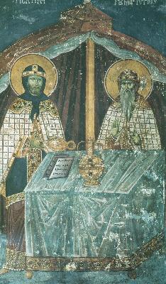Скиния. Фреска от църквата ''Успение Богородично'' в манастира Протат на Атон. Начало на XIV в.