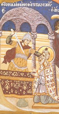 Мъченичество на св. праведен Захария. Фрагмент от фреска. Атон, манастир Ватопед. 1721 г.