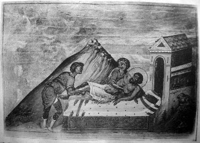 Св. мъченик Авдий Персидски. Миниатюра от Минологията на Василий II. Константинопол. 985 г.