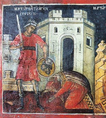 Мъчение на св. Евпсихий. Фреска от Атон, манастир Дионисиат. 1547 г.