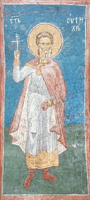 Св. мъченик Евпсихий. Фреска от манастира Високи Дечани. Сърбия. Косово. XIV в.