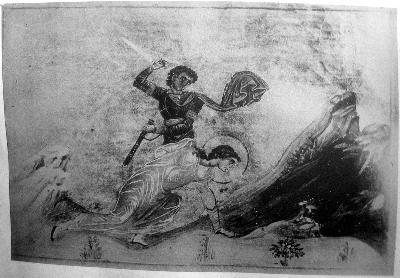 Мъченичество на св. Ия. Миниатюра от минологията на Василий II. Константинополь. 985 г.