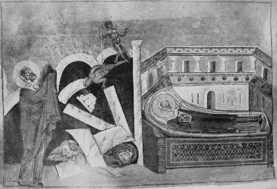 Св. свещеномъченик Корнилий. Миниатюра от минологията на Василий II. Константинопол. 985 г.