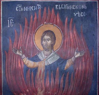 Мъченичество на великомъченик Никита. Фреска от църквата ''Благовещение'' в Грачаница, Косово, Сърбия. Около 1318 г.