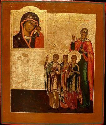 Св. мъченици Вяра, Надежда, Любов и майка им София. Икона от Русия. XIX век
