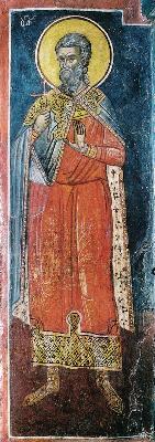 Св. мъченик Фока, наричан градинар. Фреска от Атон, манастир Дионисиат. 1547 г.