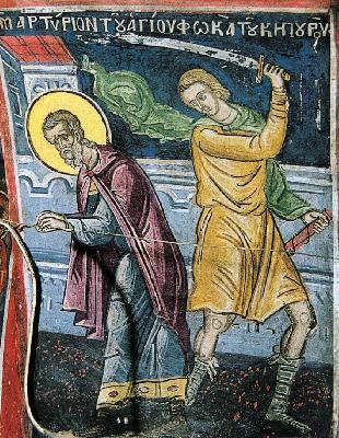 Мъченичество на св. мъченик Фока. Фреска от Атон, манастир Дионисиат. 1547 г.