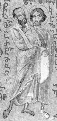 Св. апостол от 70-те Артем и св. мъченик Калиник. Миниатюра от Атон - Иверски манастир. Края на XV в.