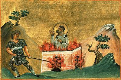Св. мъченик Полиевкт. Миниатюра от минологията на Василий II. Константинопол. 985 г.