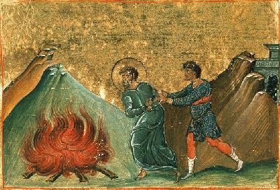 Св. мъченик Тимотей. Миниатюра от минологията на Василий II. Константинопол. 985 г.