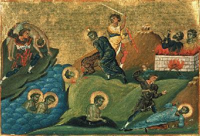 Свети мъченици от Никомидия. Миниатюра от минологията на Василий II. Константинопол. 985 г.