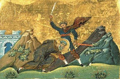 Мъченичество на свети мъченик Полиевкт. Миниатюра от минологията на Василий II. Константинопол. 985 г.