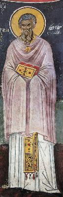 Св. преподобни Маркиан, презвитер. Фреска от Атон, манастир Дионисиат. 1547 г.