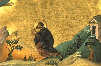Св. преподобни Мартиниан. Миниатюра от минологията на Василий II. Константинопол. 985 г.