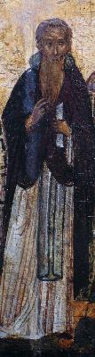 Св. преподобни Тимотей. Фрагмент от минейна икона. Русия. 1-ва половина на XVI в.