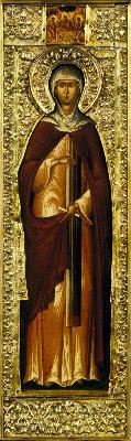 Св. преподобномъченица Евдокия. Икона от Русия. XVII в.